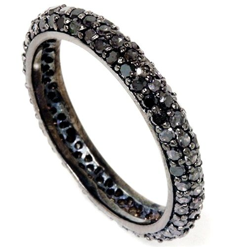 Black Diamond Pave Eternity Ring 110CT Womens Black Gold