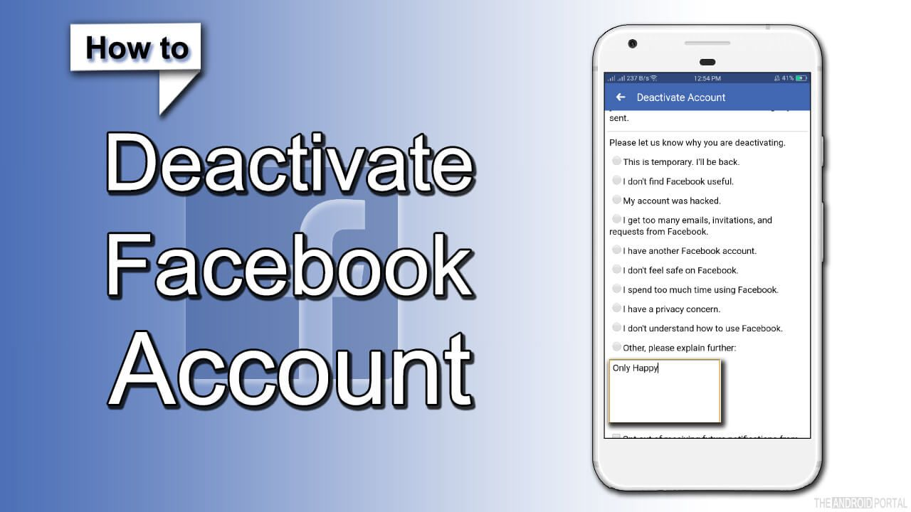 How to Deactivate Facebook Account on mobile call for more