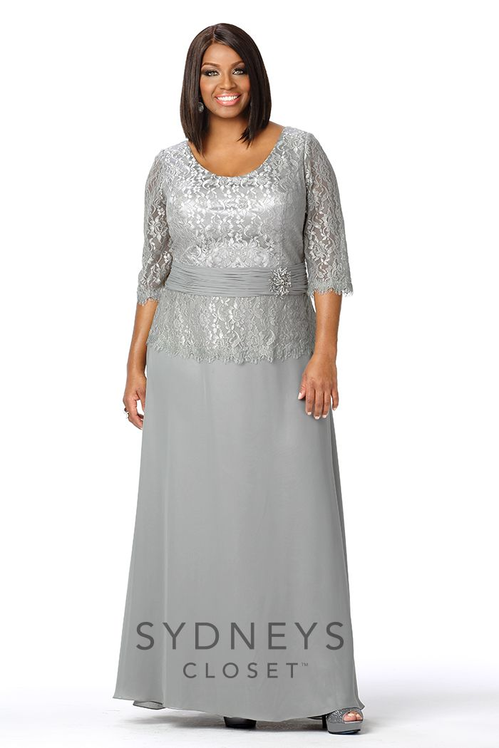 Chic Plus Size Evening Gown with Lace Sleeves from Sydney's Closet ...