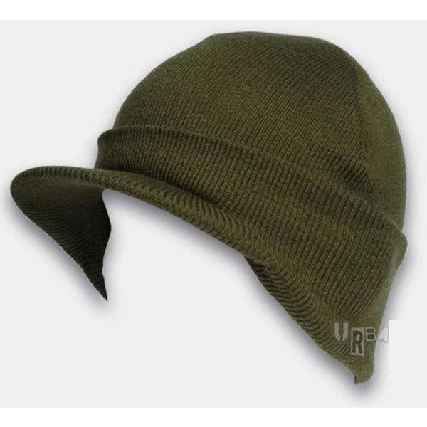 6400037859b Urban Excess Pick Cuffed Peaked Visor Beanie Hat - Olive Green ( 7.24) ❤  liked on Polyvore featuring men s fashion