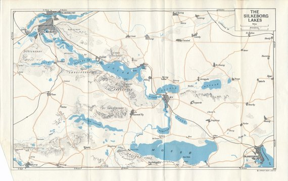 1965 Silkeborg Lakes Denmark Vintage Map | Products ...