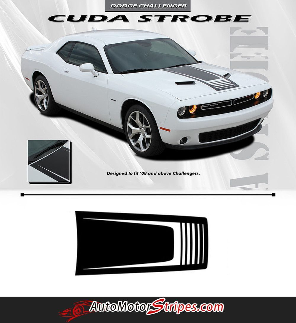 2008 2017 dodge challenger cuda strobe hood only mopar oem style hood rally vinyl graphic 3m decals package