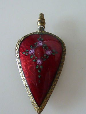 Germany Antique Red Guilloche & Gild Silver Heart Shaped Perfume Scent Bottle