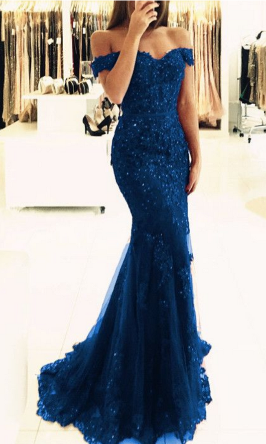 Elegant Navy Blue Lace Prom Dresses Off The Shoulder Mermaid