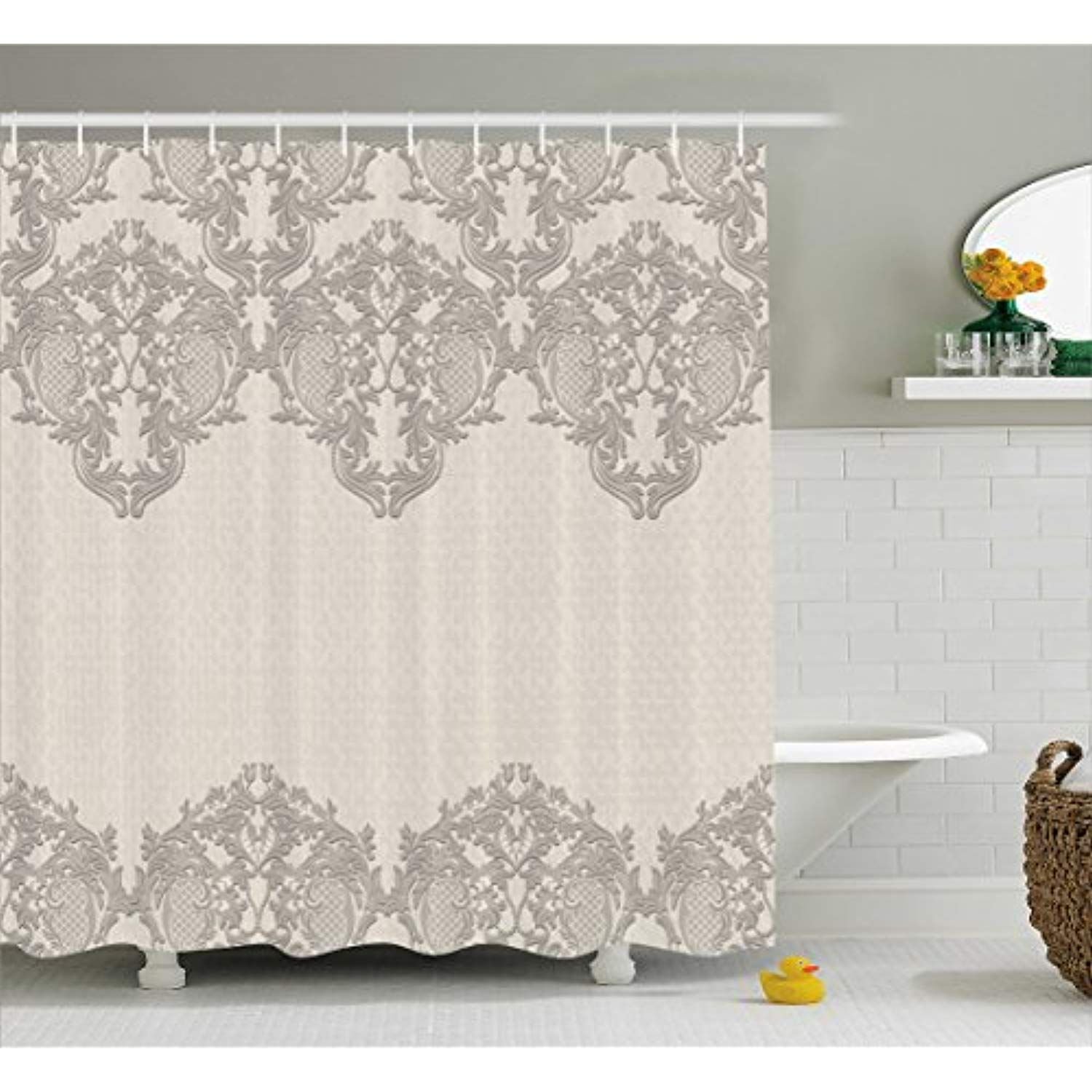 Curtain Lace Like Framework Borders With Arabesque Details Delicate Intricate Retro Dated Print Fabric Bathroom Decor Set Hooks 75 Inches Long