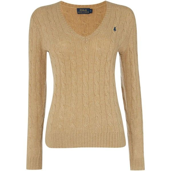Polo Ralph Lauren Long sleeved merino cashmere mix jumper ($185) ❤ liked on  Polyvore