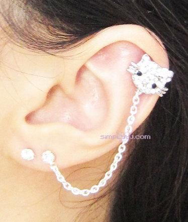 I found 'Rhinestone Hello Kitty Flower Chain Double Piercing Earring' on Wish, check it out!