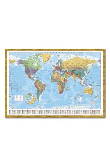 World map pin board framed in oak wood includes pins iposters world map flags at bottom art poster print for the sunroom gumiabroncs Gallery