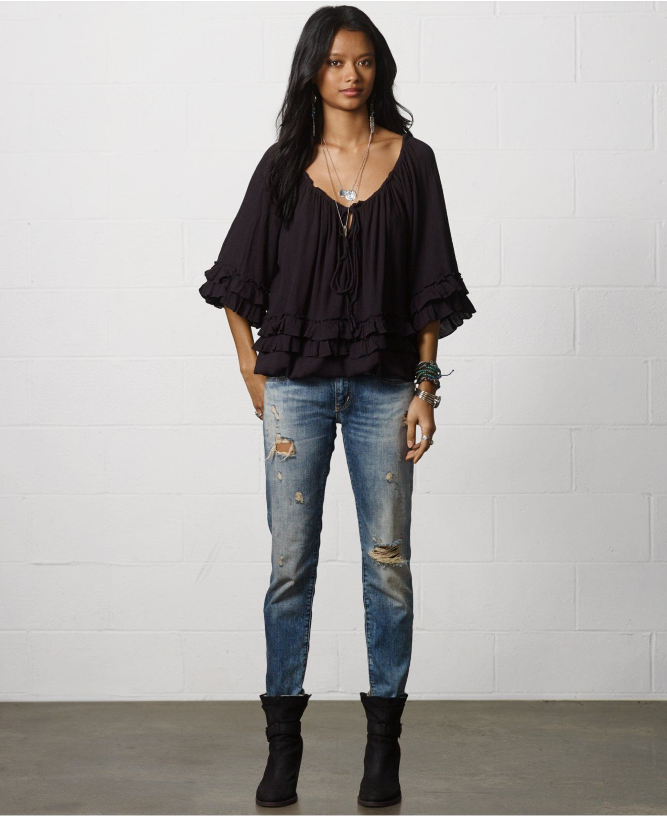 d858ba47ae149d Denim & Supply Ralph Lauren Ruffled Peasant Top - Tops - Women - Macy's  change jeans and add ugg's or knee high boots