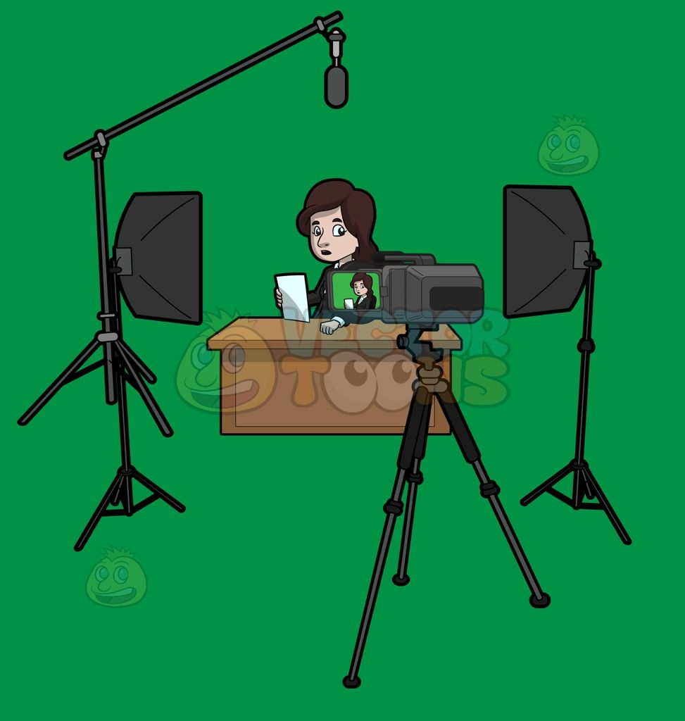 A Female News Anchor Reading The News Female News Anchors Anchor Illustration News Anchor
