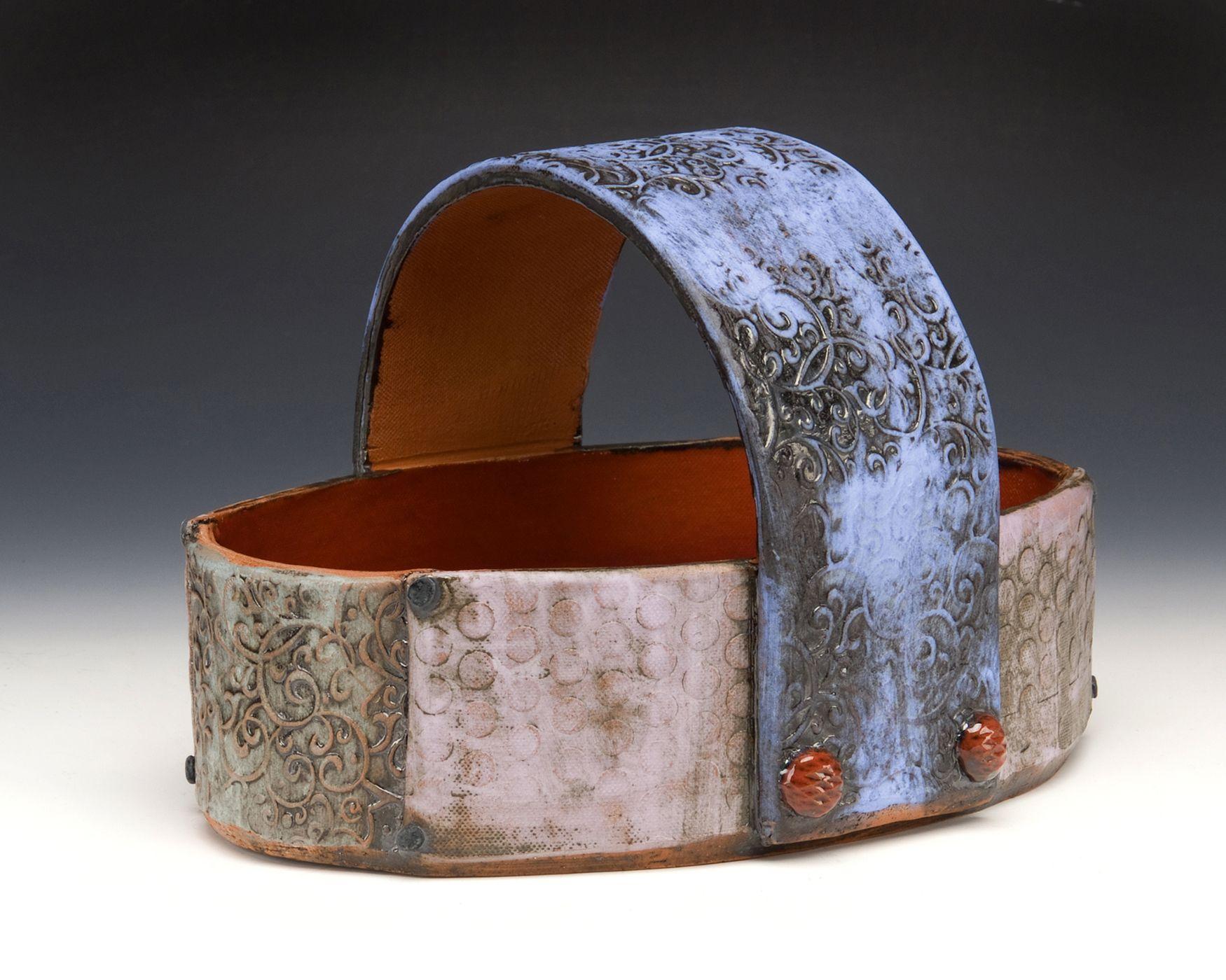 basket   hand built terra cotta, terra sig, copper oxide