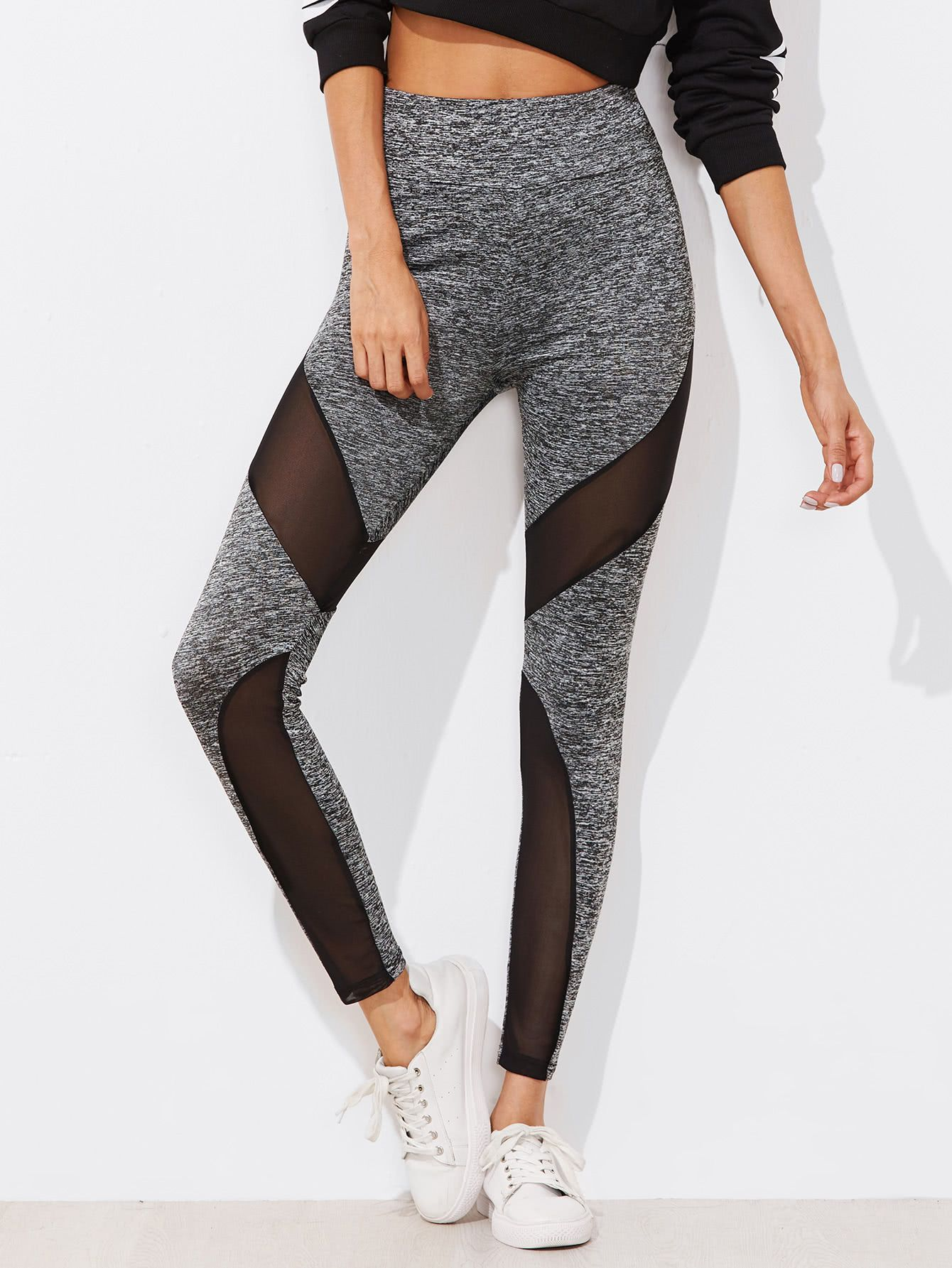 427acf65d Shop Active Mesh Panel Zip Detail Leggings online. SheIn offers Active Mesh  Panel Zip Detail Leggings   more to fit your fashionable needs.