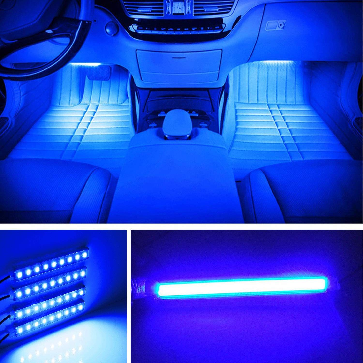 4X RGB Full Color LED Interior Car Kit Under Dash Footwell Seats Inside Lighting