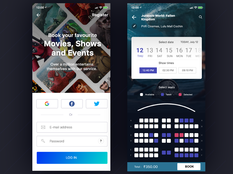 Movie ticket booking and Login app