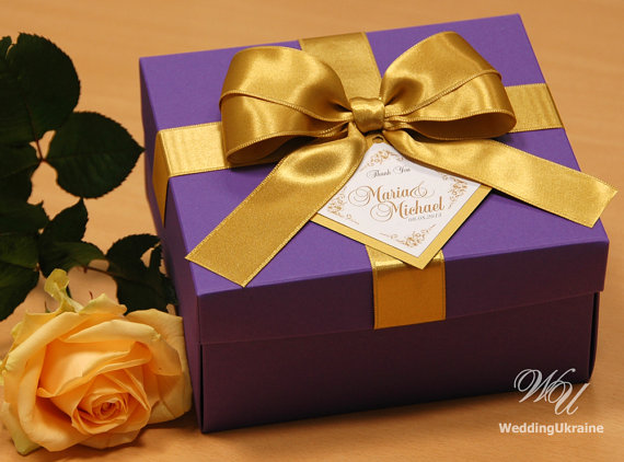 Purple And Gold Elegant Favor Gift Box With Tag By Weddingukraine