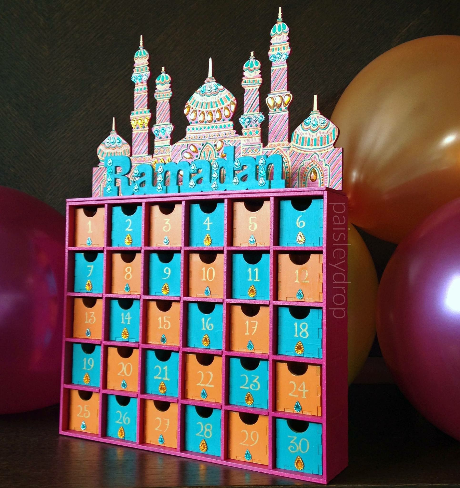 Handmade Calendar Ideas Kids : Sunset ramadan mosque advent calendar mdf gold pink teal