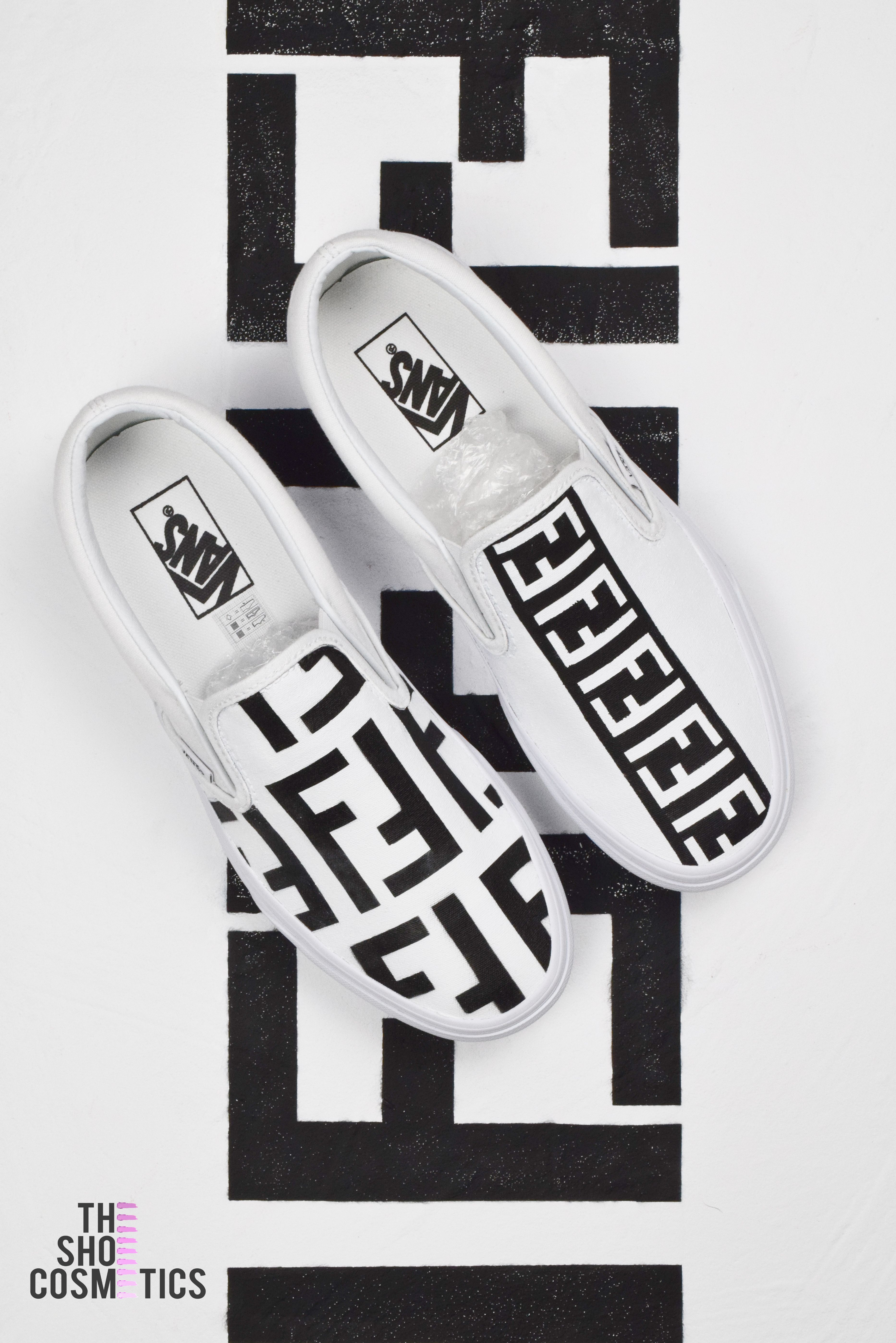 f4e07741f24b4e Introducing our new Vans slip on Fendi print painted canvas shoes. Looking  for customized Vans
