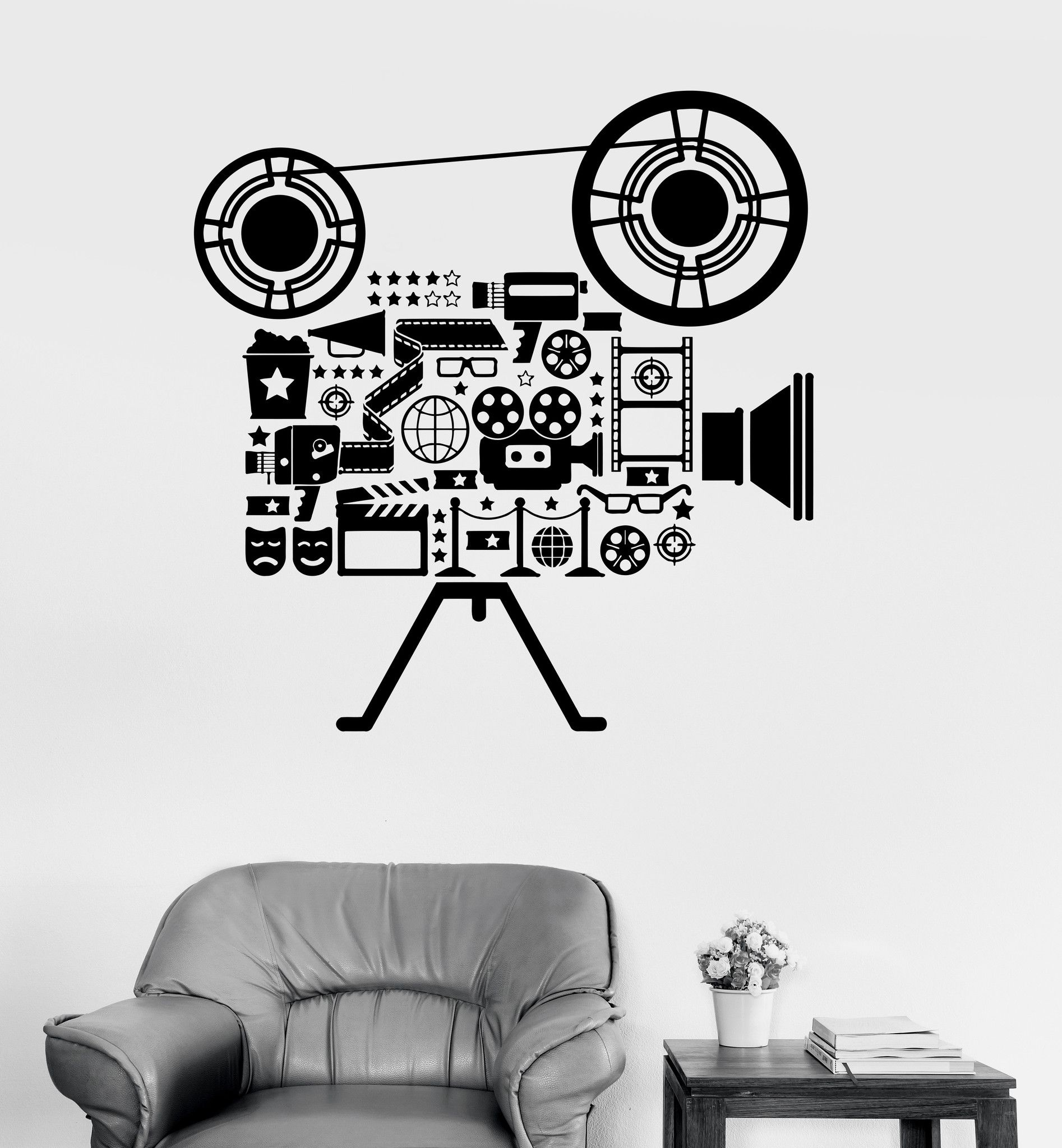 vinyl wall decal film cinema movie camera filming art room on wall stickers id=49916