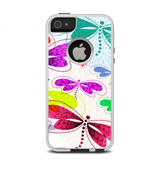 The Vibrant Neon Vector Butterflies Apple iPhone 5-5s Otterbox Commuter Case Skin Set