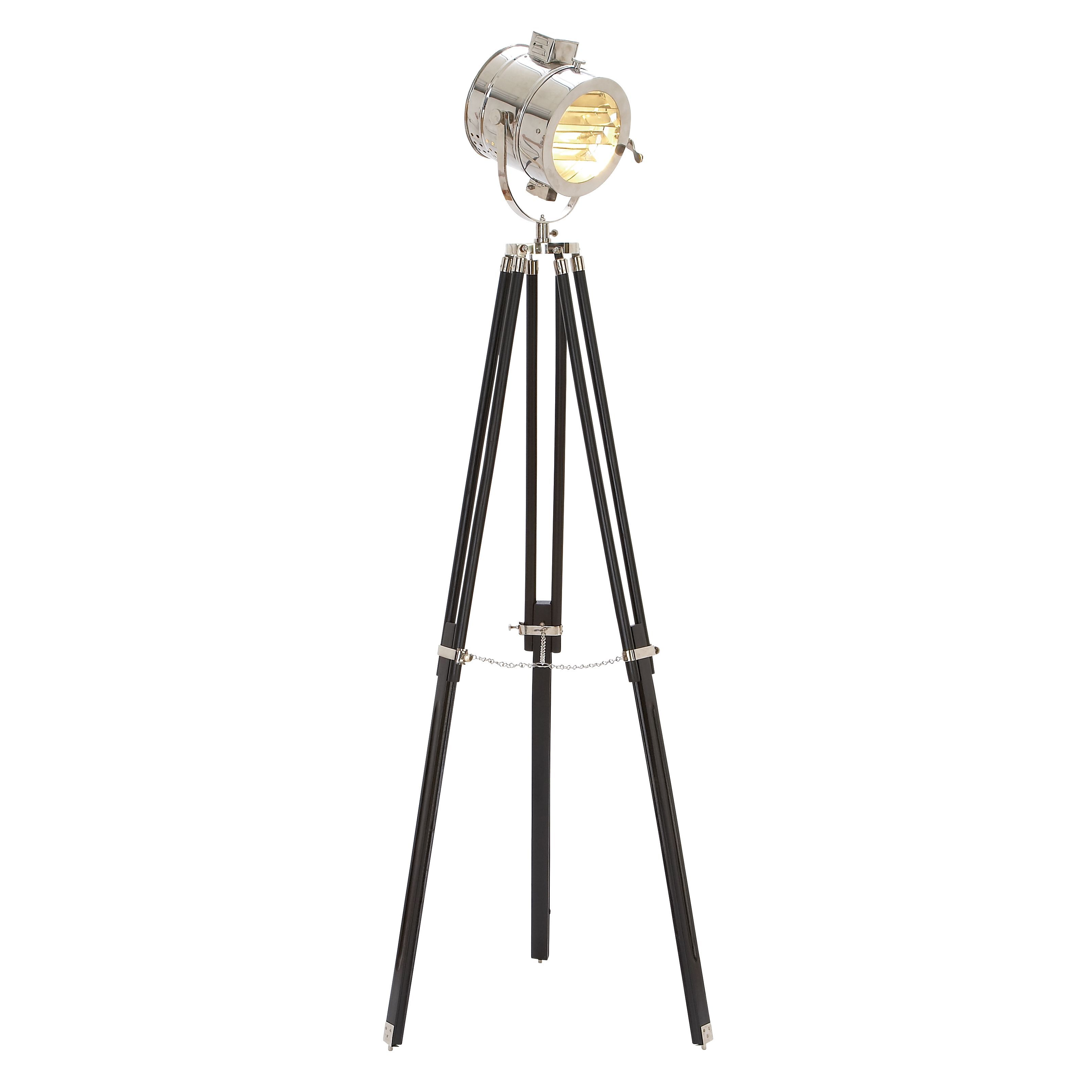 Studio Spotlight Floor Lamp Black Silver Mdf