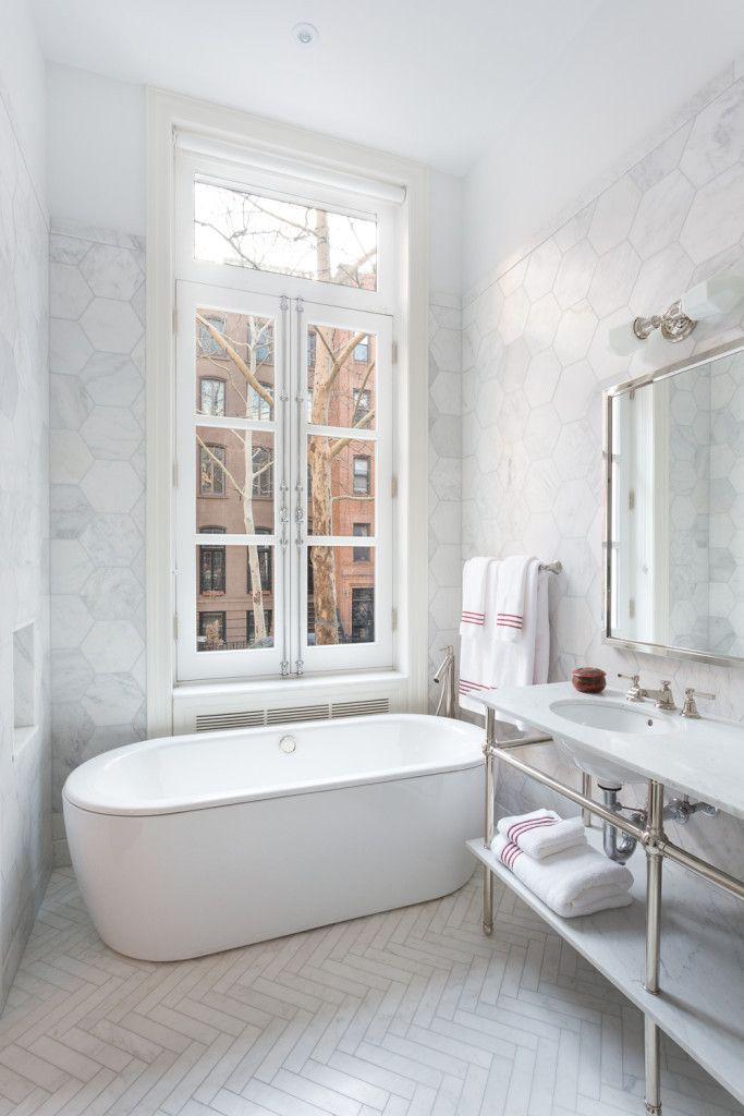 Ocean White Honed 48x48 Set In Herringbone Pattern Decorating Fascinating Bathroom Remodeling Portland Set