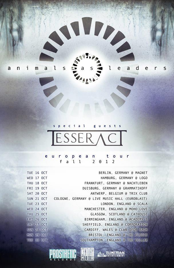 Animals As Leaders Tesseract Tour Posters Music Poster European Tour