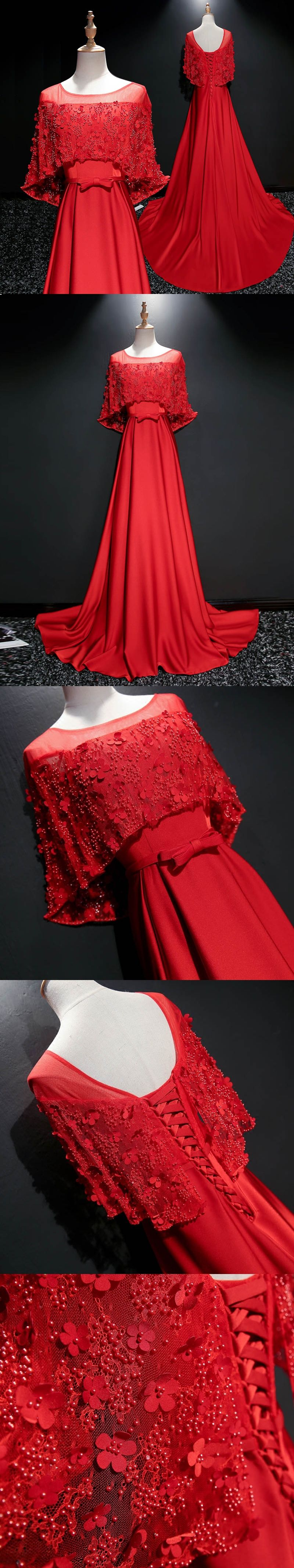 Red prom dresses aline scoop sweep train satin lace beautiful long