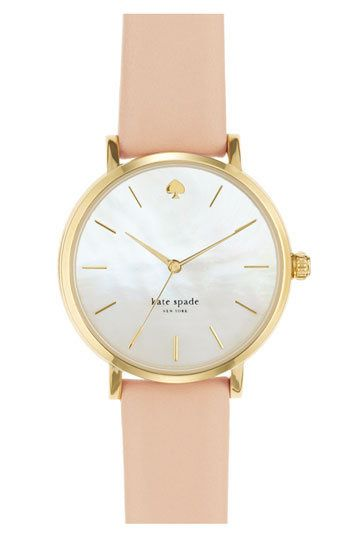 kate spade new york 'metro' round leather strap watch, 34mm | Nordstrom - LEATHER on InStores