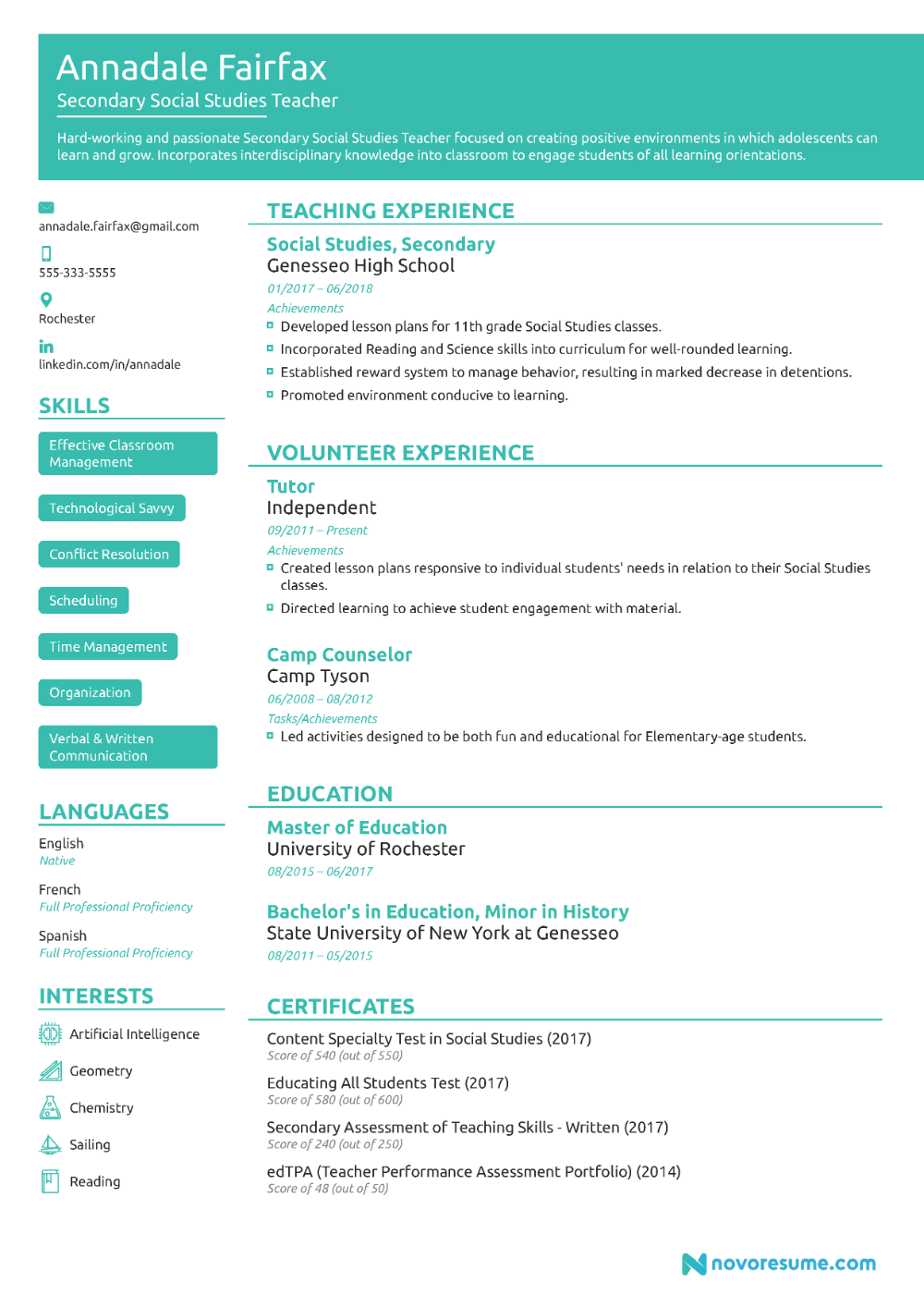 Teacher Resume Example [2020] Guide & Example in 2020
