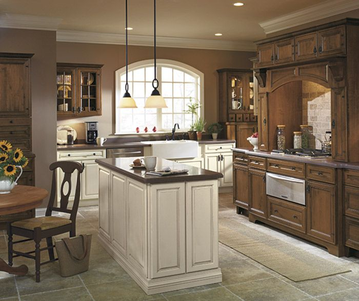 Traditional Off White Kitchen Cabinets: Rustic Kitchen In Dark Maple Stain With Off White Accents