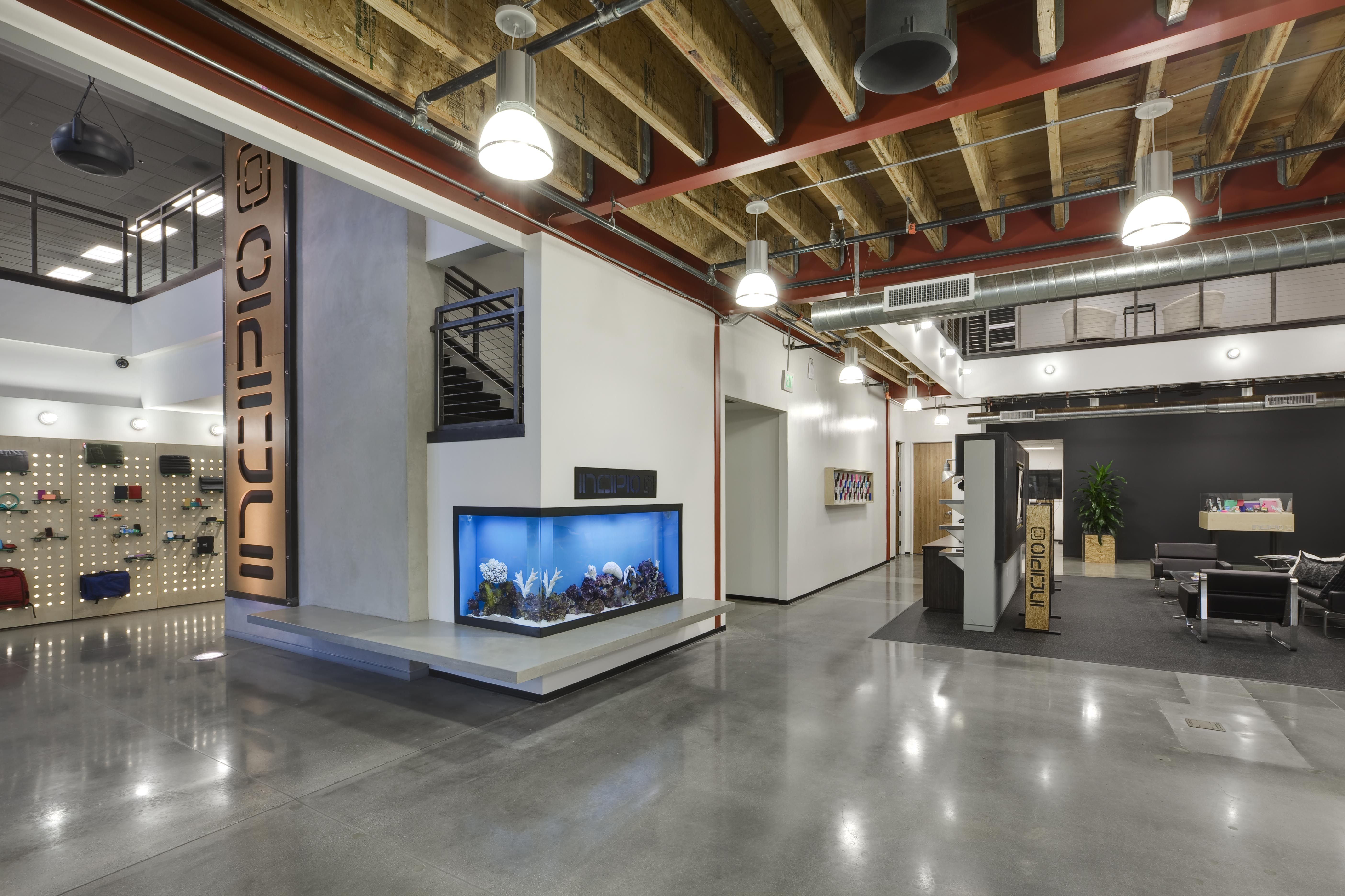 Incipio corporate headquarters lobby branded space for Corporate office interiors