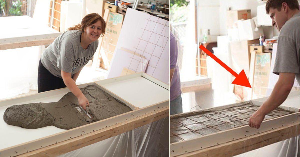 Usa hormigón para hacer una encimera de cocina económica y mira el ...