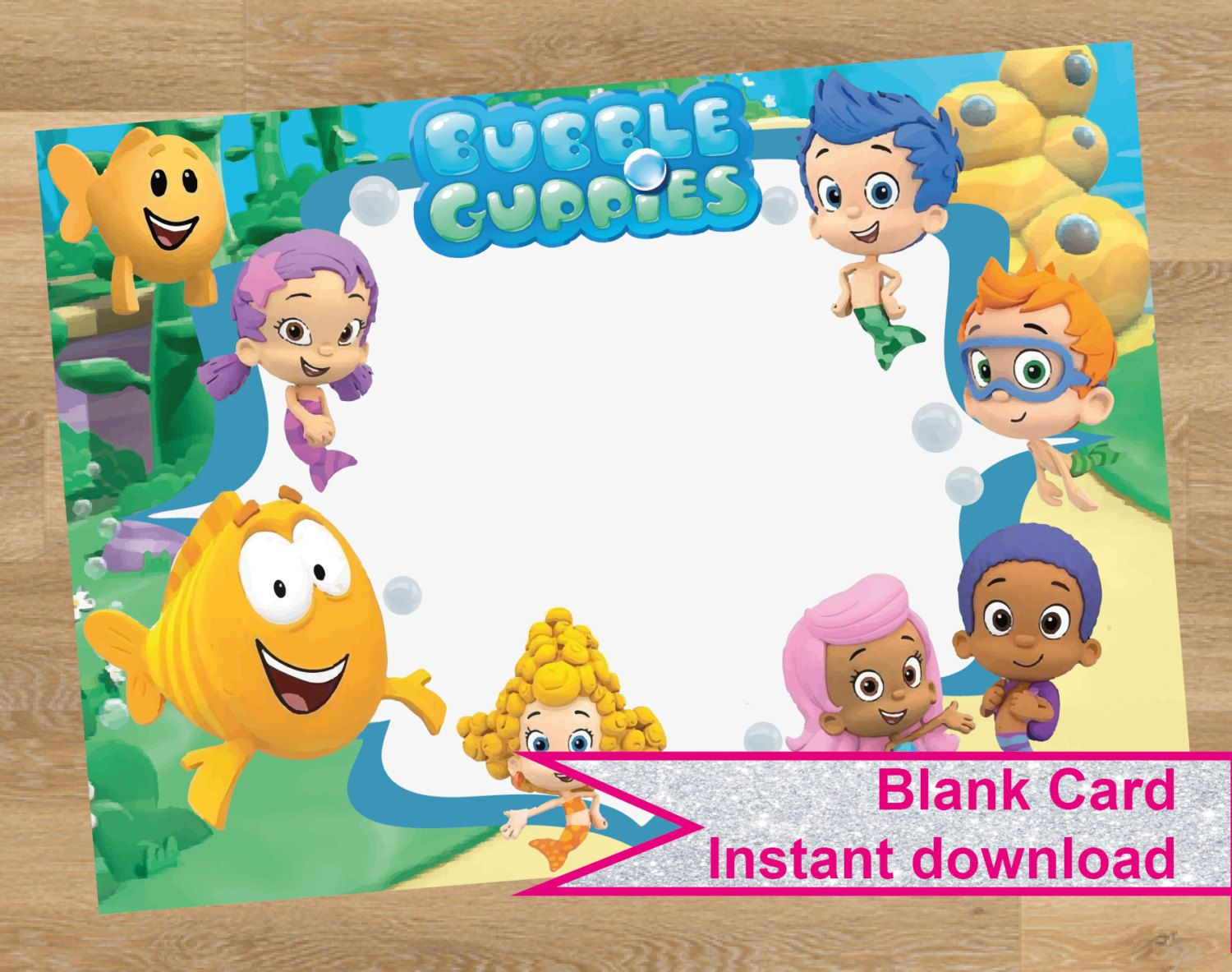 Bubble Guppies Invitation Card Birthday Blank Invite Fill In Party Empty Printable Instant