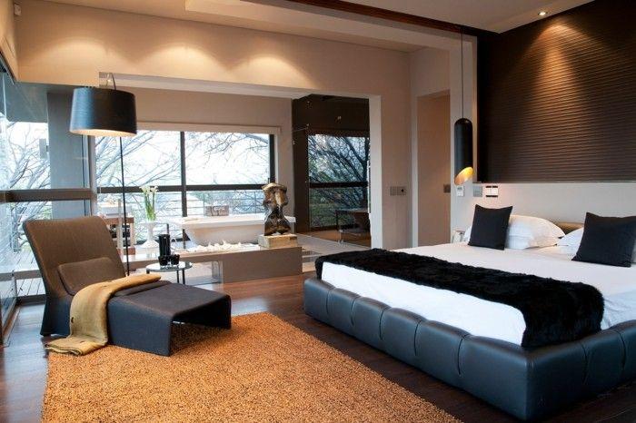 modernes schlafzimme schwarze akzente hängelampen gemütlich - modernes schlafzimmer komplett