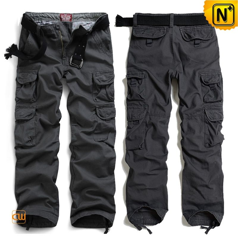 Mens Grey Cotton Cargo Pants CW100010 Best fitting mens dark grey ...
