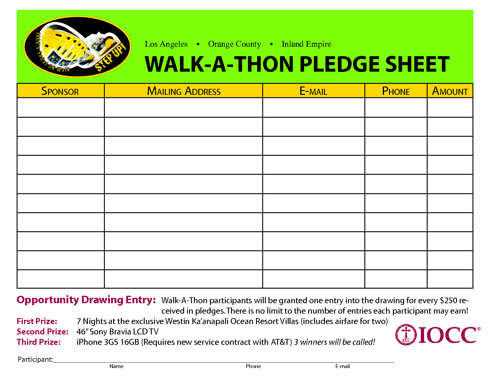 walk a thon pledge sheet