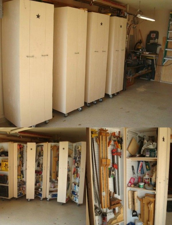 DIY Rolling Cabinets For Tool Storage   49 Brilliant Garage Organization  Tips, Ideas And DIY