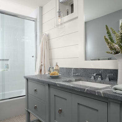 Small Bathroom Ideas And Remodel Checklist Painted Gray Cabinets