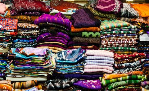 Large amount of headscarves on stacks at the Grand Bazaar in Istanbul, Turkey