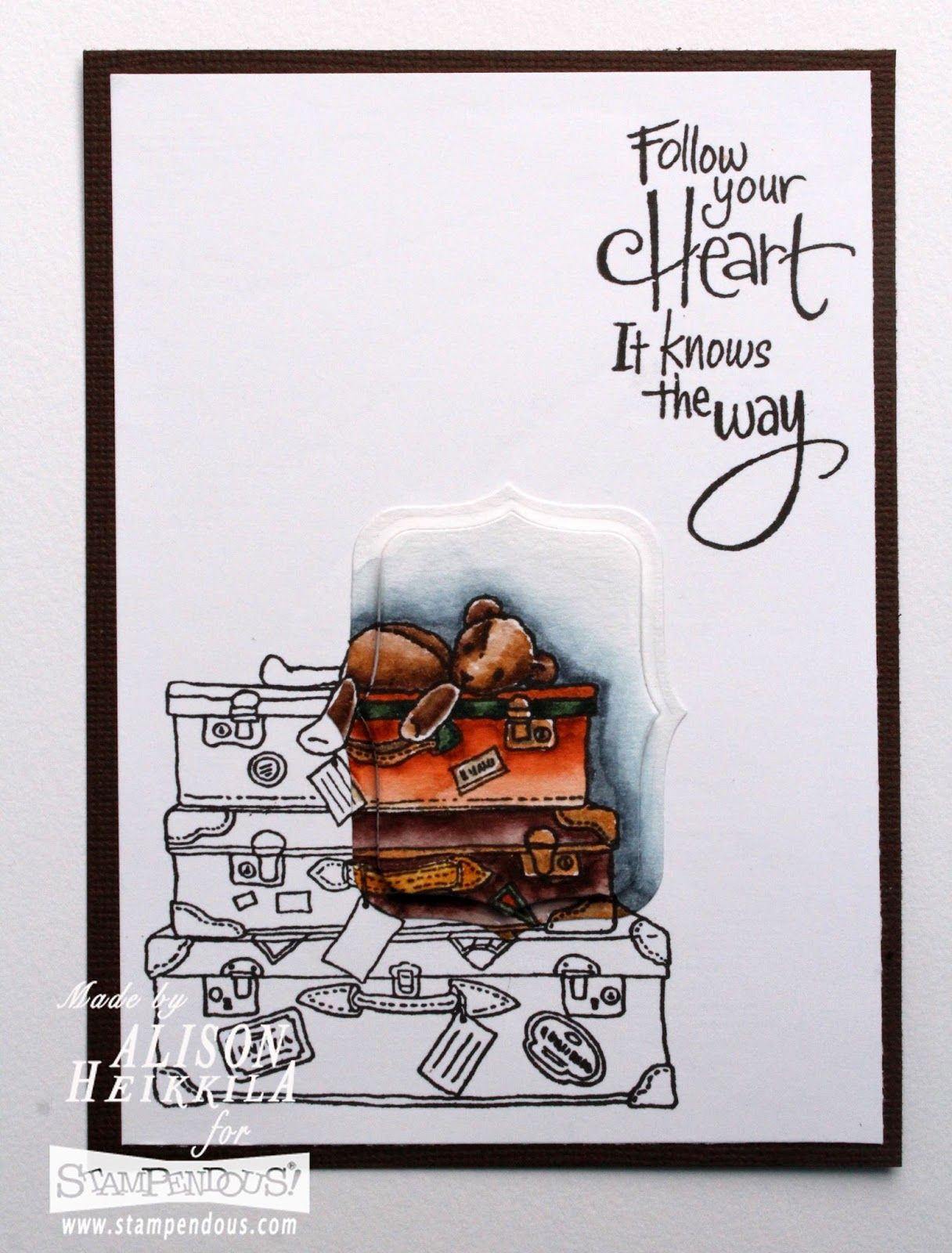 Inspire your #cre8time with #stampendous and a fun #spotlighttechnique. #travel #luggage
