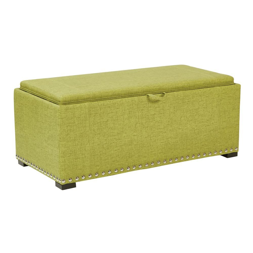 Incredible Florence Basil Fabric Bench With Cubes Silver Nail Heads Uwap Interior Chair Design Uwaporg