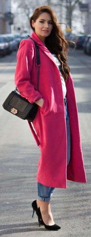 Pink Long Coat Outfit Idea