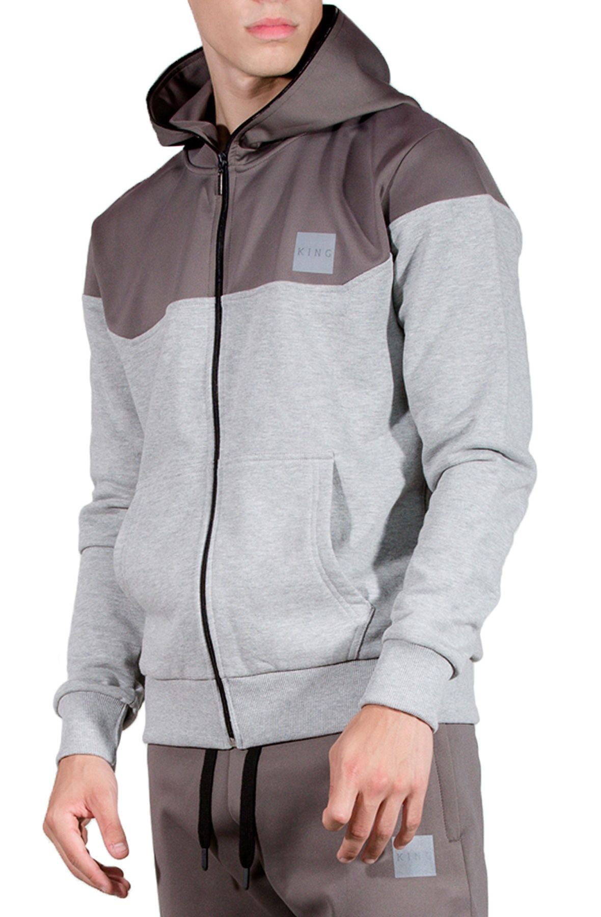 Langdon Tech Tracksuit Hood Stone Gray Track suit men