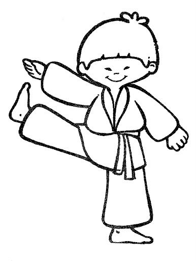 Karate Coloring Pages For Kids Imprimibles Blanco Negro