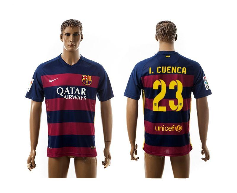 aaa+ thailand 2015 2016 barcelona 23 i.cuenca home soccer jersey .