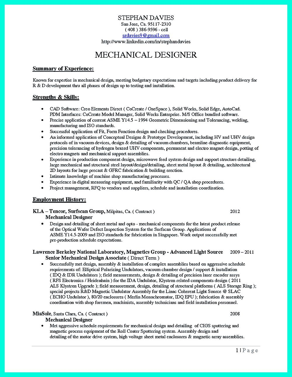 Sample resume cad operator
