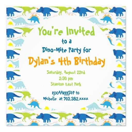 cute dinosaur birthday party invitation templates | third birthday, Birthday invitations