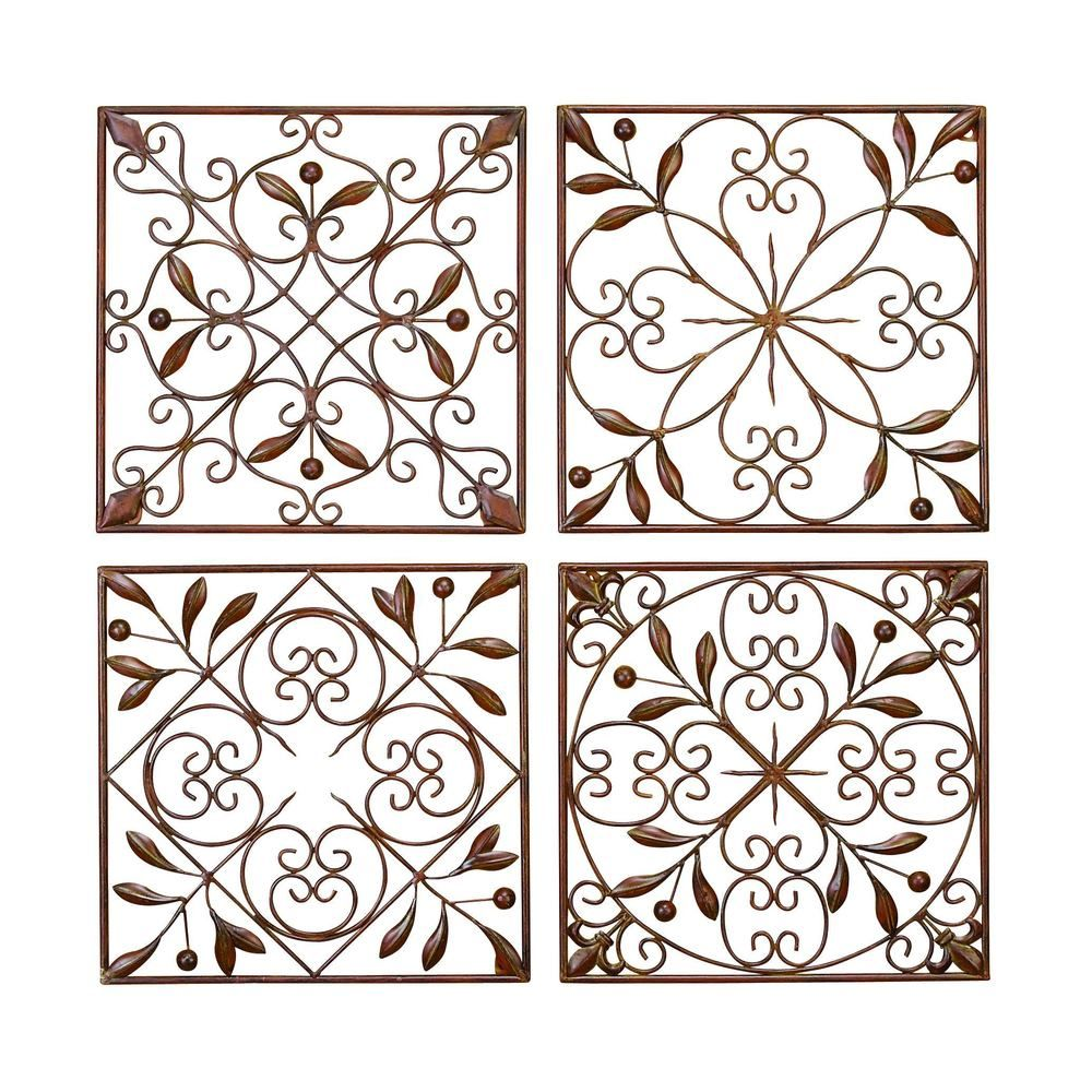 Metal Wall Accent Pieces Square Metal Wall Decor Set Of 4  Overstock Shopping  The
