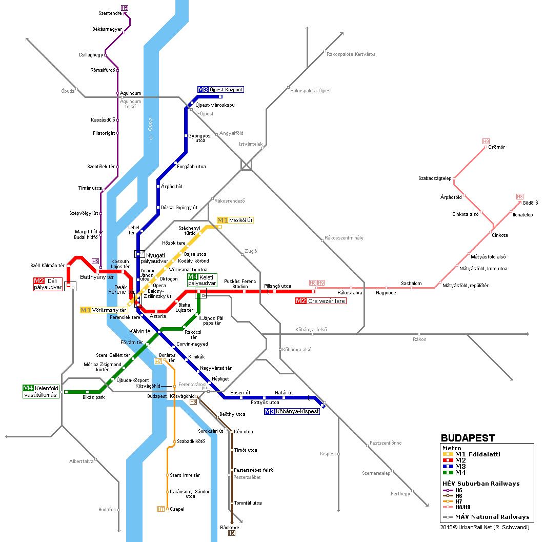 Budapest Metro Map UrbanRailNet Metro Pinterest Budapest