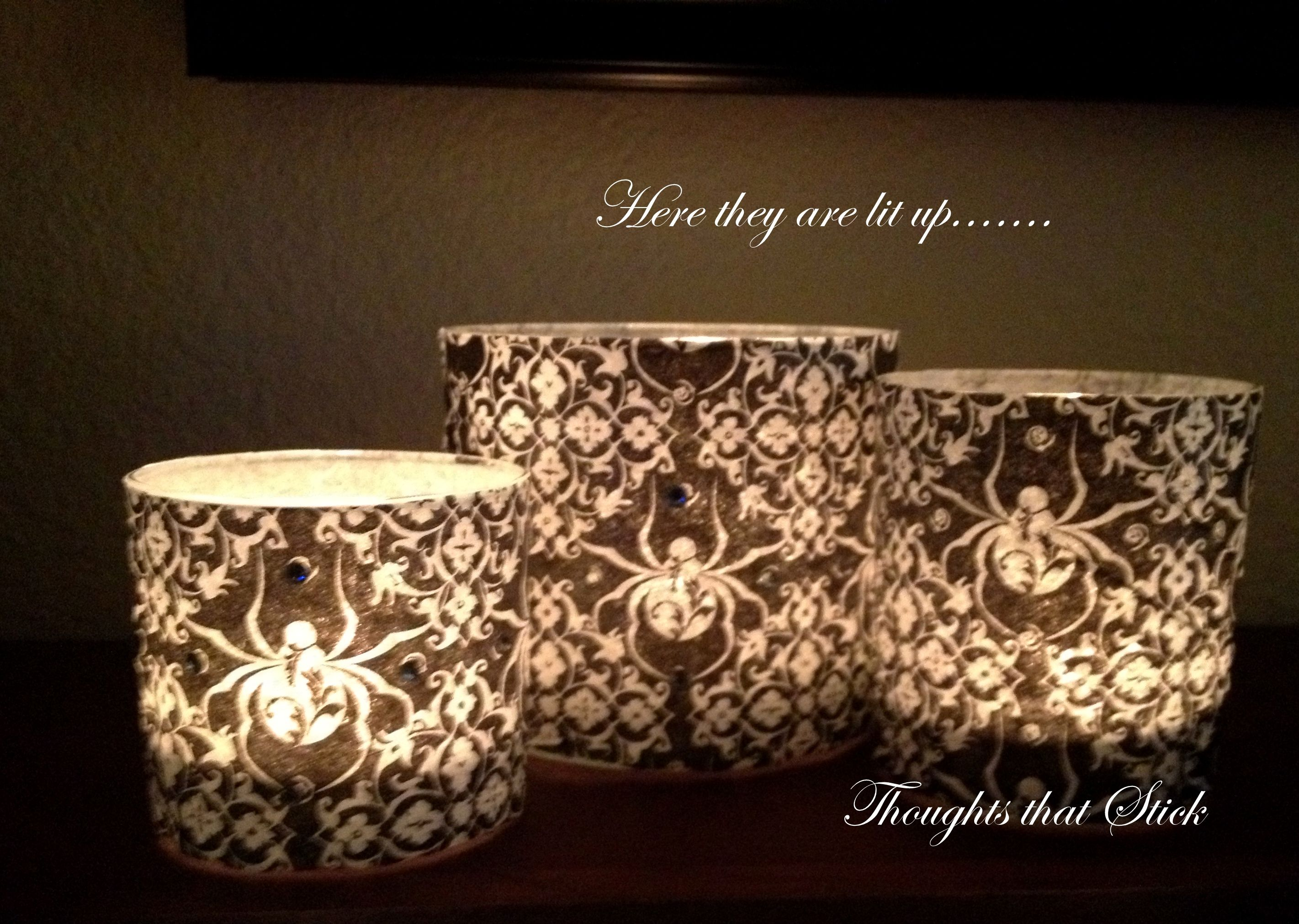 Halloween decoupage candles made with halloween napkings.  video on www.thoughtsthatstick.blogspot.com